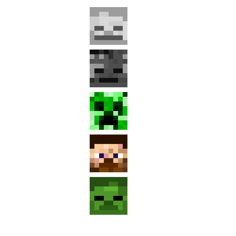 All the minecraft heads, i'm the creator of this art.(contest)
