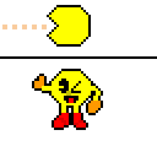 Pac-Man Original vs. Pac-Man SSB4 Sprite but it was pixelized