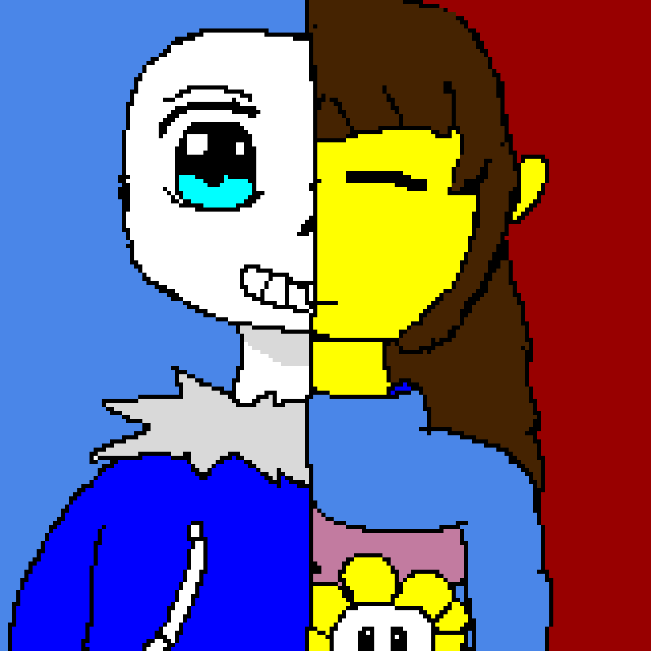 Sans and Frisk (remake) on a drawing i made on paper