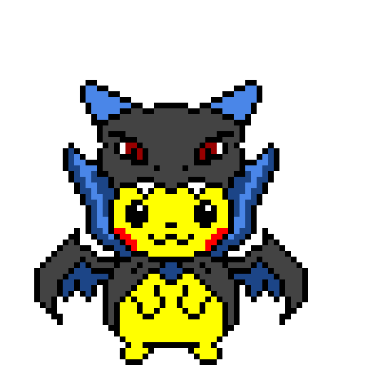 Pikachu Wearing Mega Charizard