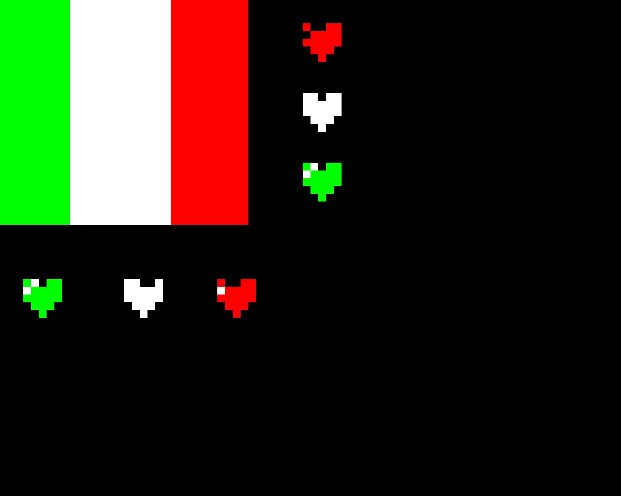 Bandiera italiana e cuori