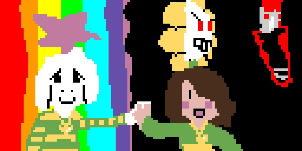 Chara: Dark      Asriel: RAINBOOOOOOOW!!!!!