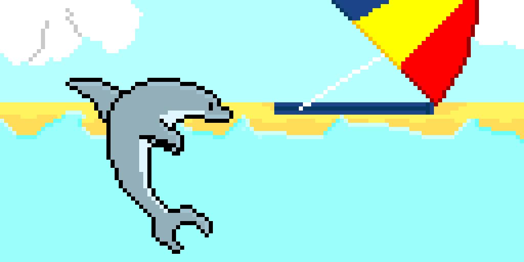 Dolphin and beach