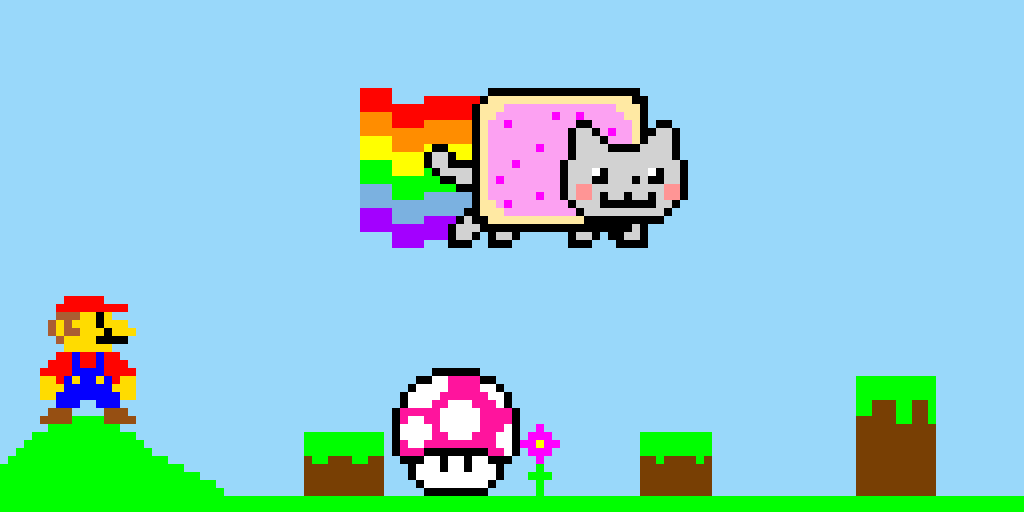 Nyan cat breaks in Mario game!