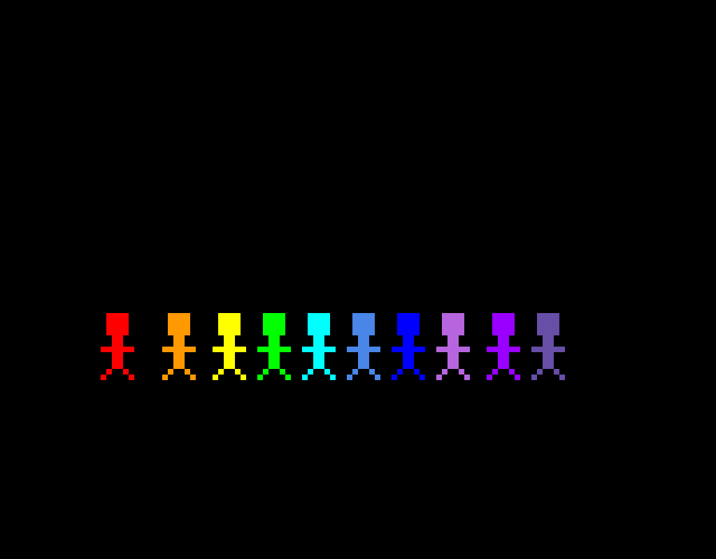 Rainbow people in the dark!