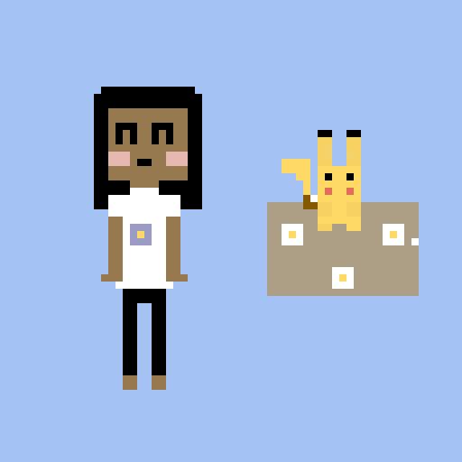 since I am pikachu I drew myself next to pikachu