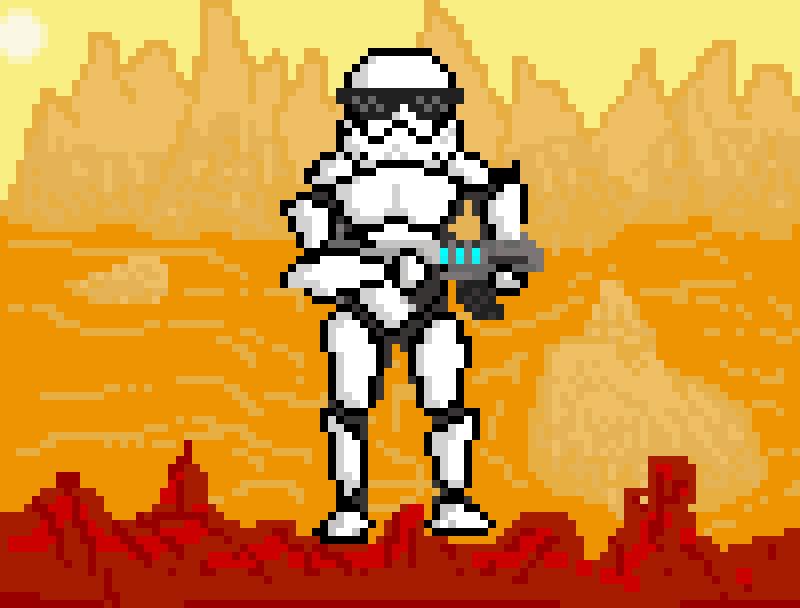 Storm Trooper in the Dessert