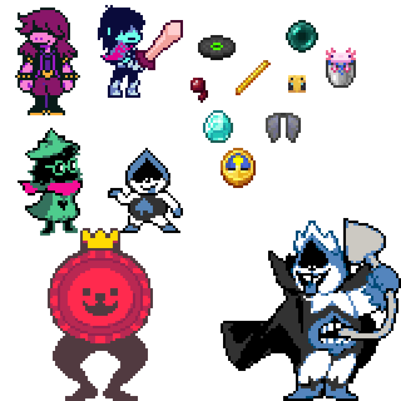 minecraft items and deltarune characters