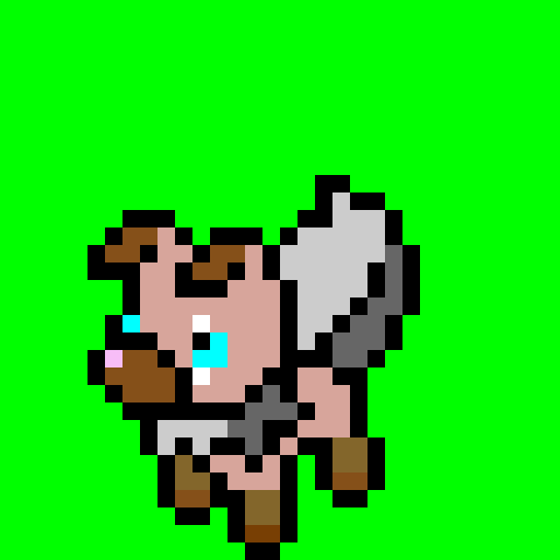 Rockruff with green background