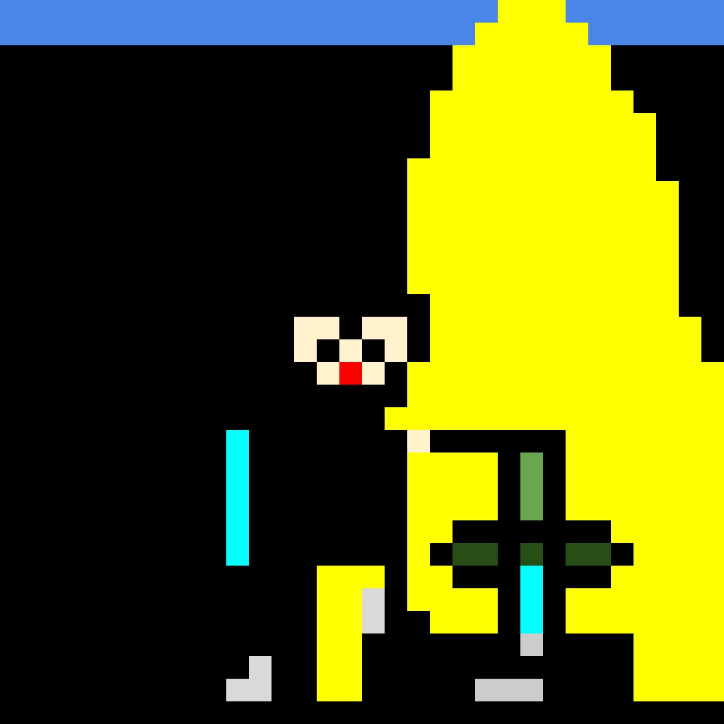 personaggio di minecraft che prende una spada