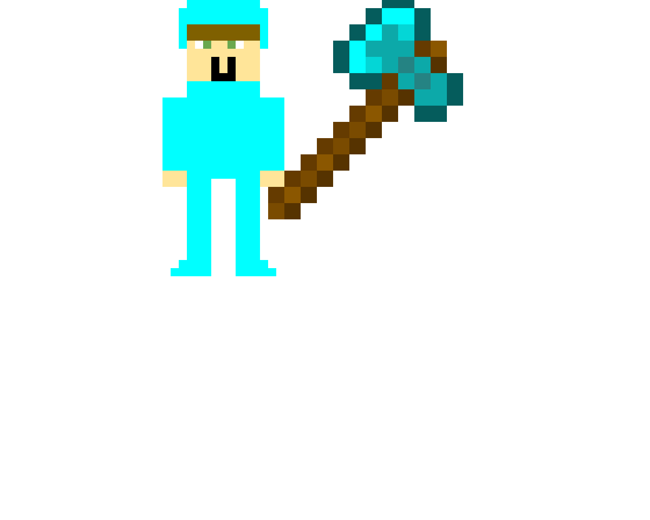 Baby steve in Diamond armor and a fatal weapon!