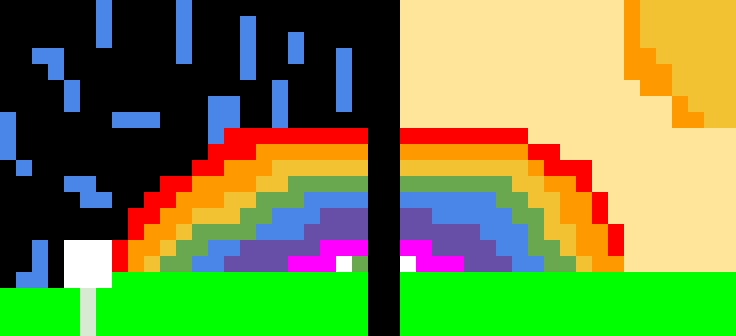 Sunny and rainy rainbow